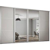 Spacepro 610mm White Shaker frame 3 panel and 2x Single panel Mirror Sliding Wardrobe Door Kit
