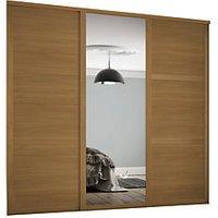 Spacepro 610mm Oak Shaker frame 3 panel and 1x Single panel Mirror Sliding Wardrobe Door Kit