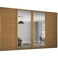 Spacepro 914mm Oak Shaker frame 3 panel and 2x Single panel Mirror Sliding Wardrobe Door Kit