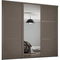 Spacepro 610mm Stone Grey Shaker frame 3 panel and 1x Single panel Mirror Sliding Wardrobe Door Kit