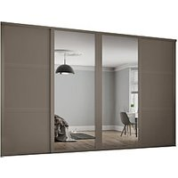 Spacepro 914mm Stone Grey Shaker frame 3 panel and 2x Single panel Mirror Sliding Wardrobe Door Kit