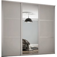 Spacepro 762mm Cashmere Shaker frame 3 panel and 1x Single panel Mirror Sliding Wardrobe Door Kit