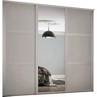 Spacepro 914mm Cashmere Shaker frame 3 panel and 1x Single panel Mirror Sliding Wardrobe Door Kit