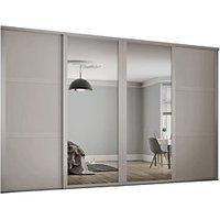 Spacepro 762mm Cashmere Shaker frame 3 panel and 2x Single panel Mirror Sliding Wardrobe Door Kit