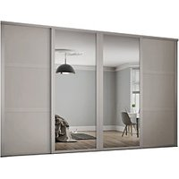 Spacepro 914mm Cashmere Shaker frame 3 panel and 2x Single panel Mirror Sliding Wardrobe Door Kit