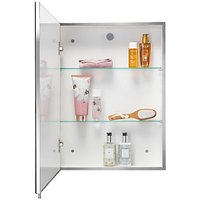 Croydex Wickes Finchley Folded Stainless Steel & MDF Carcass Single Door Bathroom Cabinet - 670 x 400mm