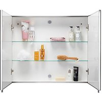 Croydex Wickes Finchley Folded Stainless Steel & MDF Carcass Double Door Bathroom Cabinet - 670 x 800mm
