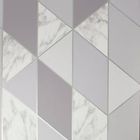 Sublime Marble Geometric Grey Wallpaper 10m.