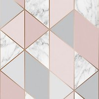 Sublime Marble Geometric Pink Wallpaper 10m.