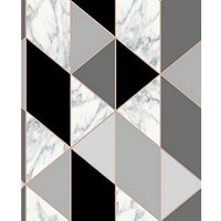Sublime Marble Geometric Charcoal Wallpaper 10m.