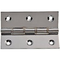 Wickes Phospor Bronze Washered Butt Hinge - Polished Chrome 76mm Pack of 2.