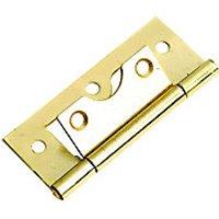 Wickes Flush Hinge - Brass 63mm Pack of 2