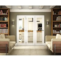 Wickes Belgrave White Fully Glazed Hardwood 1 Lite Internal Bi-Fold 3 Door Set - 2074mm x 2090mm