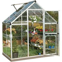 Palram 6 x 4 ft Harmony Silver Aluminium Apex Greenhouse with Clear Polycarbonate Panels