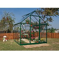 Palram 6 x 6 ft Harmony Green Aluminium Apex Greenhouse with Clear Polycarbonate Panels