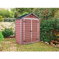 Palram 6 x 3ft Back to Wall Double Door Plastic Shed with Skylight Roof