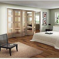 Wickes Ashton Internal Folding Door Oak Veneer Glazed 4 Lite 5 Door 2047 x 3158mm