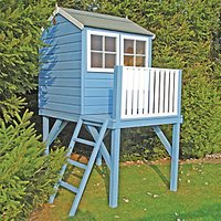 Shire 4 x 4ft Bunny and Platform Elevated Wooden Playhouse with Balcony