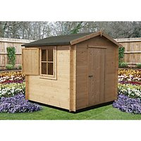 Shire 7 x 7 ft Camelot Log Cabin with Shuttered Window with Assembly