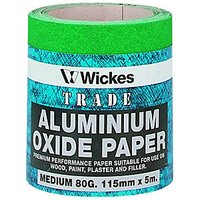 Wickes Aluminium Oxide Medium Sandpaper Roll - 5m.