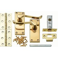 Wickes Paris Victorian Scroll Latch Door Handle Set - Polished Brass 1 Pair.