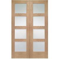 Wickes Marlow Fully Glazed Oak 4 Panel Rebated Internal Door Pair - 1981mm x 1168mm