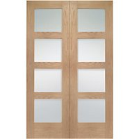 Wickes Marlow Fully Glazed Oak 4 Panel Rebated Internal Door Pair - 1981mm x 1372mm