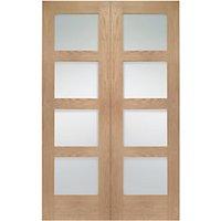 Wickes Marlow Fully Glazed Oak 4 Panel Rebated Internal Door Pair - 1981mm x 1524mm