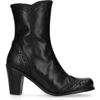 Kurze schwarze Stiefel mit Lochmuster und Absatz