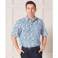 Floral Print Linen-Blend Short Sleeve Shirt XXXL
