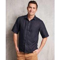 Navy Short Sleeve Pure Linen Slim Fit Shirt in Shorter Length XL