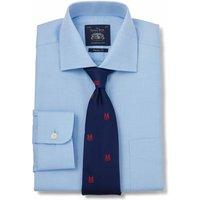 Blue Fine Herringbone Classic Fit Shirt - Single Cuff 19 1/2 Standard.