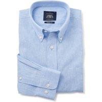 Blue Linen-Blend Casual Shirt S Standard