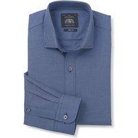 "Blue Navy Slim Fit Textured Shirt - Single Cuff 15 1/2"" Standard"