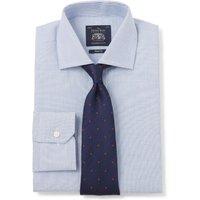 Blue White Irregular Stripe Dobby Slim Fit Shirt - Single Mitred Cuff 17