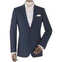 "Blue Wool-Blend Micro Pattern Single-Breasted Jacket 40"" Long"