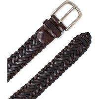 "Brown Plaited Leather Belt 36"""