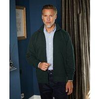 Green French-Rib Cotton Zipped Sweatshirt M at The Savile Row Company