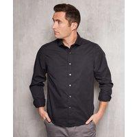 Black Twill Slim Fit Shirt in Shorter Length L Lengthen by 2