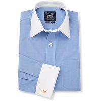 "Blue Poplin Classic Fit Non-Iron Shirt With White Collar & Cuffs - Double Cuff 18 1/2"" Standard"