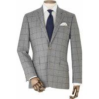 "Grey Navy Check Wool Suit Jacket 38"" Regular"