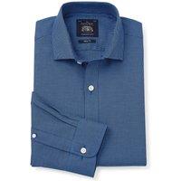Navy Blue Puppytooth Slim Fit Shirt - Single Cuff 15 1/2 Standard.