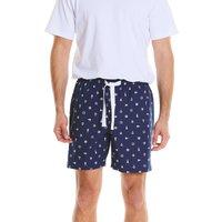 Navy White Nautical Print Cotton Lounge Shorts XL