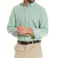 Pale Green Linen-Blend Shirt XL Lengthen by 2