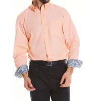 Peach Fine Twill Button-Down Casual Shirt XXL Standard
