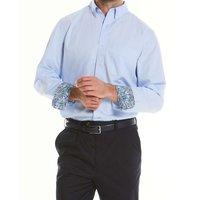 "Sky Blue Fine Twill Button-Down Casual Shirt XL Lengthen by 2"""