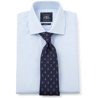 "Sky Blue Gingham Check Slim Fit Shirt - Single Cuff 15"" Standard"