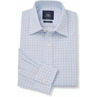 White Blue Red Check Fine Twill Classic Fit Shirt - Single Cuff 19 1/2