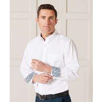 White Fine Twill Button-Down Casual Shirt M Standard
