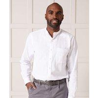 White Linen/Cotton Blend Grandad Collar Shirt M Standard